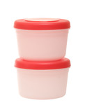 Stack of two plastic containers on the white background