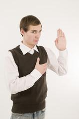 man take an oath half side front