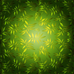 Green background for design from carved leaves