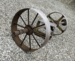 Old Rusted Wheel on Stones