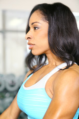 Attractive African American Woman In Gym