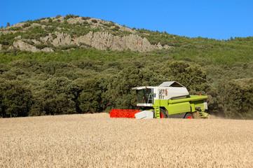 cosechadora y montaña