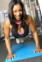 Fitness Woman Doing Push Up