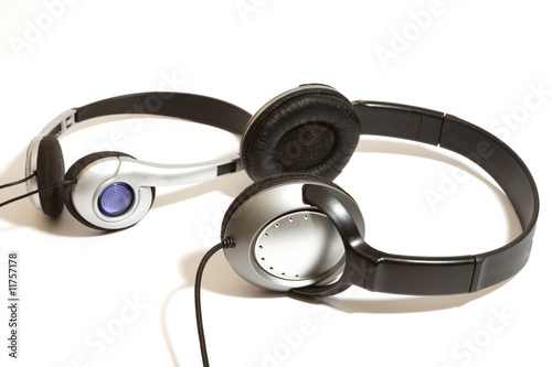two stereo head phones on a white background
