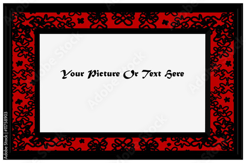 3D Red & Black Patterned Photoframe - Isolated