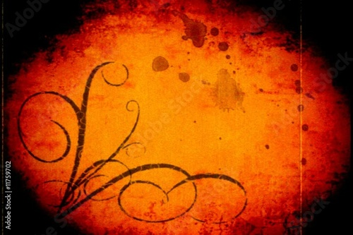 Orange ornamental grungy background - digital animation