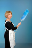 attractive older lady with feather duster poster