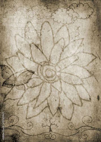 flower design on old paper background © Marian D