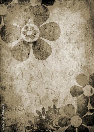 flower design on old paper background © Marian D