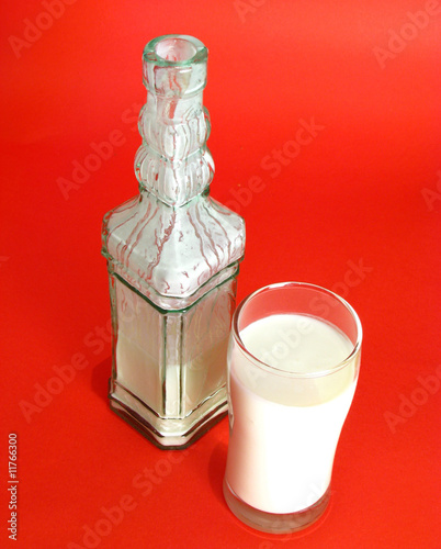 yogurt in glass and bottle isolated on red