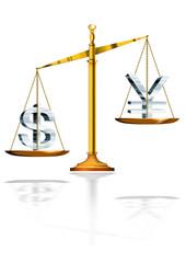 Balance and dollar and yen