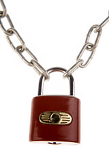 Padlock and chains on white