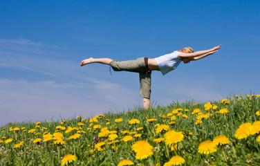 female exercising yoga