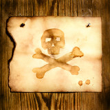 Paper with skull and crossbones poster