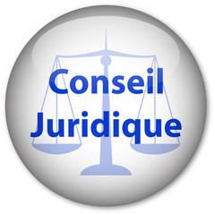 """Conseil Juridique"" bouton (blanc/bleu)"