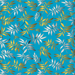 Blue background for design from silver and golden leaves