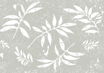 Grunge grey  background with carved leaves