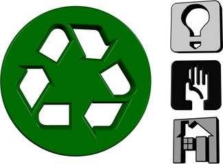 3D Save The Planet Icons - Isolated On White