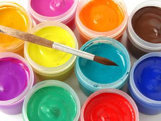 gouache paints with brush