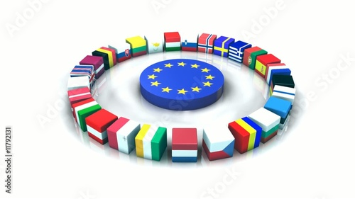 Drapeaux parlement europe 3D animation FullHD