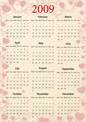 European pink calendar with hearts