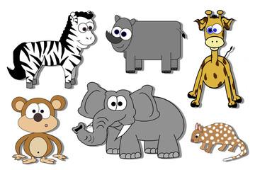 Cartoon Animals Isolated - Zebra, Rhino, Quoll, Monkey Etc