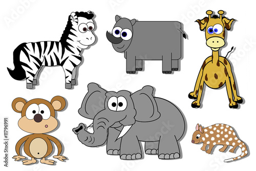 Cartoon Animals Isolated - Zebra, Rhino, Quoll, Monkey Etc