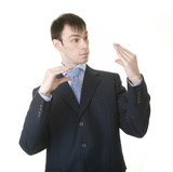 businessman imitating his talk with boss poster