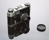 Old reflex photo camera poster