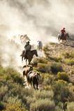 Two cowboys guiding a line of horses through the desert