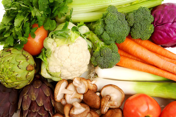Background of bright and colorful fresh organic vegetables