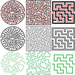 set 3 maze puzzles solutions in variations outline