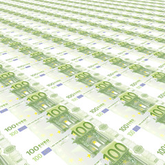 Endless rows of euro banknotes