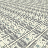 Endless rows of money - dollar poster