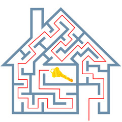 Maze real estate home puzzle solution to gold house key