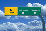 Freeway sign reading Economy, Recession and Depression poster
