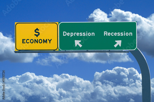 Freeway sign reading Economy, Recession and Depression