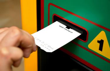 insert ticket to a machine