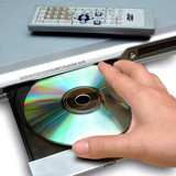 inserting disc to DVD player poster