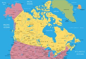 Vector map of Canada and Alaska