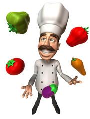 Cuisinier avec des légumes
