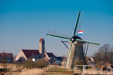 beautiful windmill landscape at kinderdijk