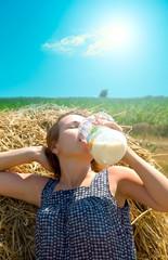 rural girl in hay