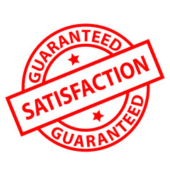 """Satisfaction Guaranteed"" ink stamp (red)"