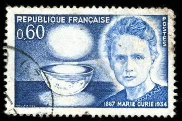 Vintage french stamp depicting Marie Curie