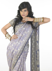 Woman in a nice pose with sari