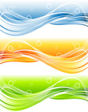 vector header with wavy lines in three color variations poster