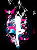 Girl in yoga pose - dreamy environment poster