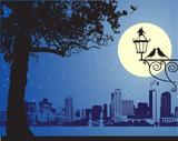 Urban night scene, idyllic poster