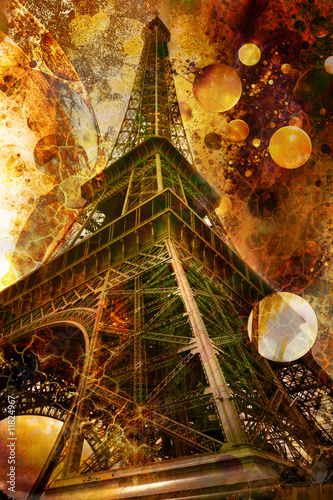 grunge picture of the eiffel tower